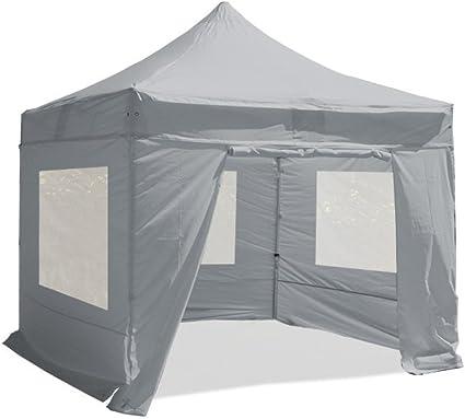 Interouge Barnum - Pérgola cenador de estructura plegable de 40 mm con 4 lonas laterales con ventana, gris claro, 3x3