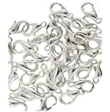 50 Bright Silver Plated Lobster Clasp Jewellery 10mm by BestMall