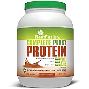 PlantFusion Complete Plant Based Protein Powder, Chocolate Raspberry, 21g Protein, 30 Servings, 2lb Tub