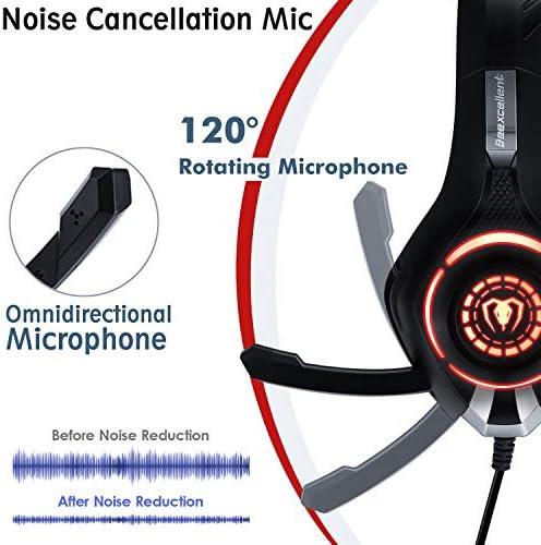 Beexcellent GM-1RED Gaming Kopfhörer für PS4 PC Xbox One, LED Light, rot 3