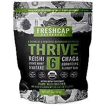 THRIVE 6 Powerful Mushroom Extract Powder - USDA Organic - Lions Mane, Reishi, Cordyceps, Chaga, Turkey Tail, Maitake -60g- Supplement - Add to Coffee/Tea/Smoothies– Real Fruiting Body–No Fillers