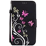 Lomogo [Flower Embossing] Galaxy A5 (2015) Leather Wallet Case with Kickstand Credit Card Holder Magnetic Closure Shockproof Flip Case Cover for Samsung Galaxy A5 (2015 Release) (Black)