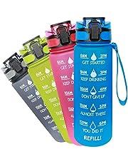 Azebo Grote waterfles met tijdmarkering en verwijderbare zeef, BPA-vrij, niet-toxisch, 1000ml/750ml/500ml voor fitness, sport, buiten en kantoor