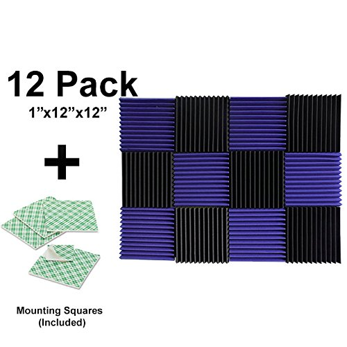 12-pk-1x12x12-purple-charcoal-soundproofing-foam-acoustic-tiles-studio-foam-sound-wedges-with-24-dou