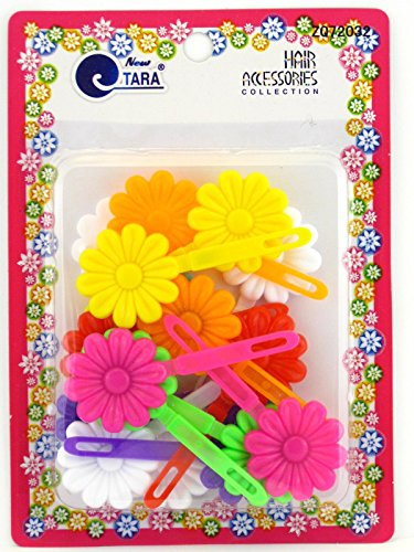 Flower Hinge - Tara Girls Assorted Self Hinge Flower Barrettes - 18 Pcs.