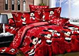 Haru Homie 100% Cotton Kids Reversible Printing Mickey Mouse Couples Duvet Cover 3PCS Bedding Set with Zipper Closure - Ultra Soft, Hypoallergenic and Wrinkle&Fade Resistant, King