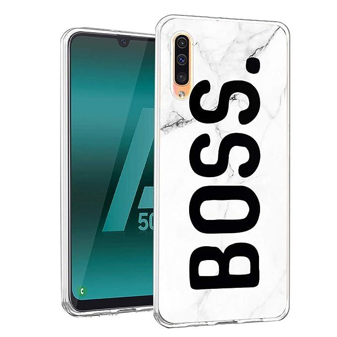 Galaxy A50 Coque Verre Trempé Arrière et TPU Souple Cadre Case Protection pour Samsung Galaxy A50