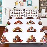Emoji Bed Set Twin Sleepwish Cartoon Poop Emoji Face Bedding Twin Brown Poop Bed Set Kawaii Duvet Cover with 2 Poop Emoji Pillow Case
