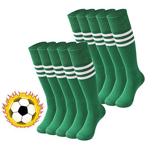 Christmas Socks Plus Size, saounisi Unisex Striped Colored Knee High Tube Socks 10 Pairs Green