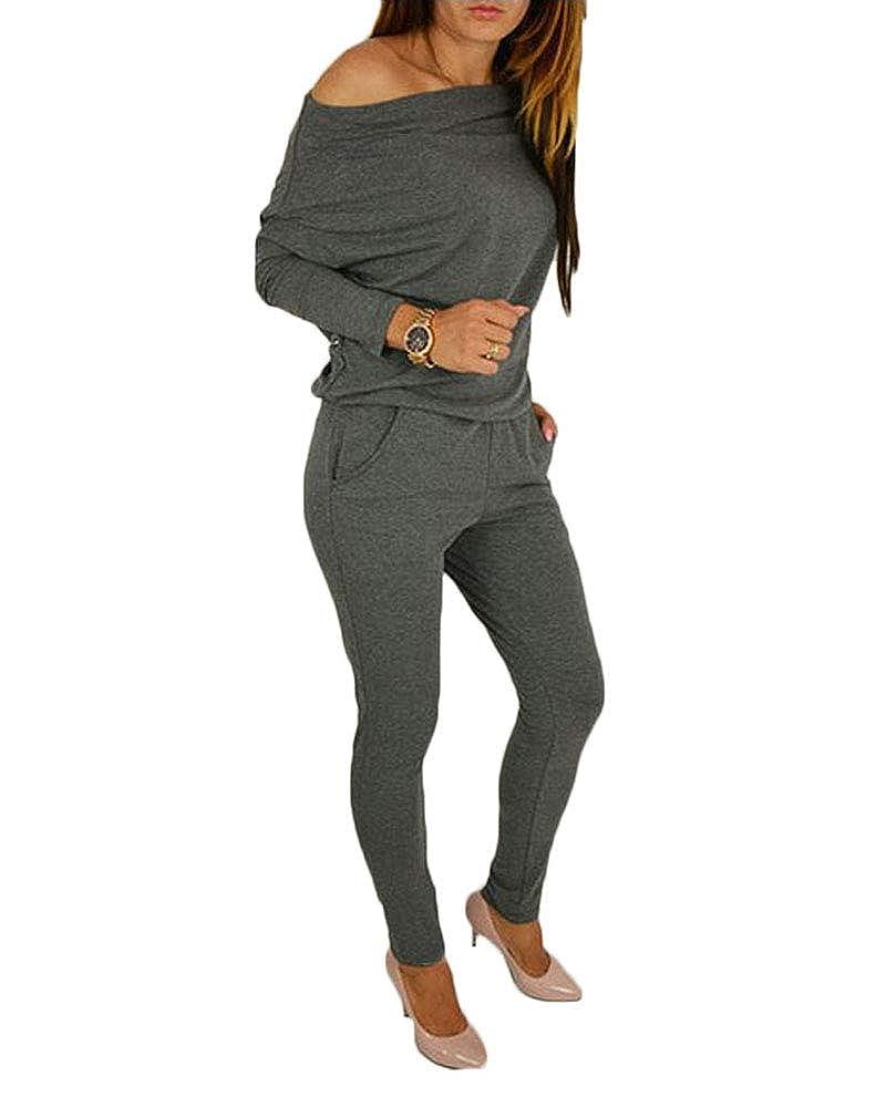 DianShao Donna Playsuits Eleganti Manica Lunga Jumpsuit Tinta Unita Monopezzi E Tutine
