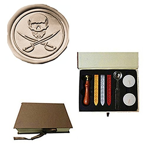 MDLG Vintage Skull Cross Sword Caribbean Pirate Custom Picture Logo Wedding Invitation Wax Seal Sealing Stamp Sticks Spoon Gift Box Set (Customs Halloween Pirate)
