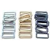 "DGOL 30Pcs 1"" Belt Bag Die Cast Rectangle Ring Buckles Webbing Strap Loops Adjuster Square Buckle in 3 Color"