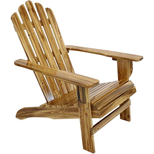Sunnydaze Rustic Wooden Adirondack Chair with Light Charred Finish, 250-Pound Weight Capacity