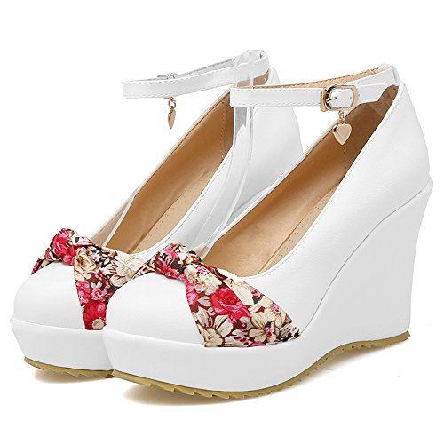 White High Ankle Heel Wedges Women Pumps KemeKiss Comfort Strap Shoes AtSPqzP
