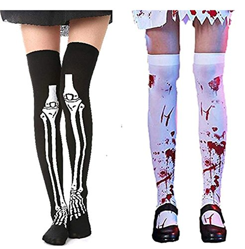 Easy Kids Halloween Decorations (Halloween Decoration Bloody Stockings and Horrible Bonesocks- Halloween Party Women's Bloody Zombie Thigh High Hosiery 2)