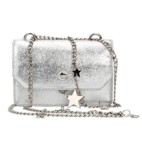 For Silver Women Bag Strap Cross Handbags Stars Evening Chain Bags Body With Clutch Silver WOrOI8
