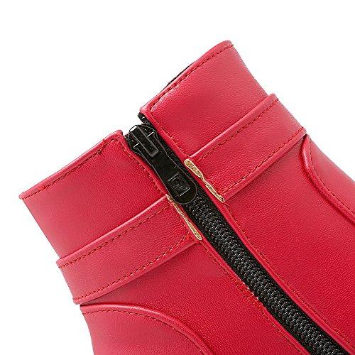AllhqFashion Mujeres Material Suave Puntera Redonda Sólido Caña Baja Tacón Alto Botas Rojo