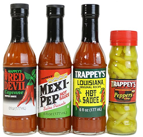 - Trappey's Hot Sauces - Mexi-Pep, Red Devil, Louisiana (6 Oz Ea) and Peppers in Vinegar (4.5 Oz) - 4 Pack Variety