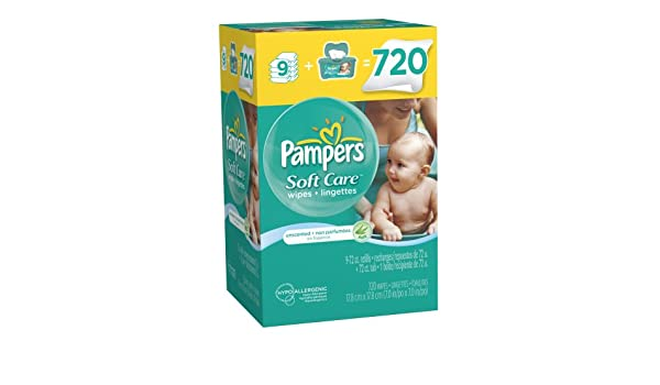 Pampers SoftCare Unscented toallitas 10 x caja con bañera 720 Count: Amazon.es: Belleza