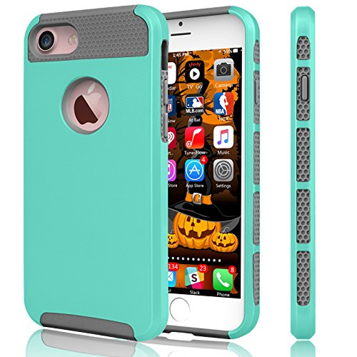 iPhone 6S Case, Tekcoo(TM) iPhone 6 / 6S (4.7 INCH) [Shock Absorbing] [Scratch Proof] Hybrid Impact Defender Slim Hard Case Cover Plastic Shell Outer +TPU Rubber Silicone Inner [Turquoise/Grey]