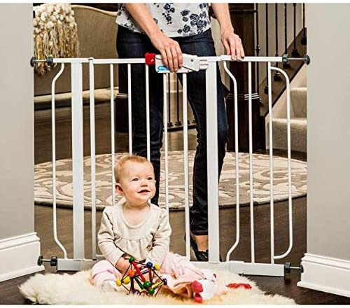 Includes 6-Inch Extension Kit White Wall Cups and Mounting Kit Regalo Easy Step 38.5-Inch Extra Wide Walk Thru Baby Gate Pressure Mount Kit 8Pack