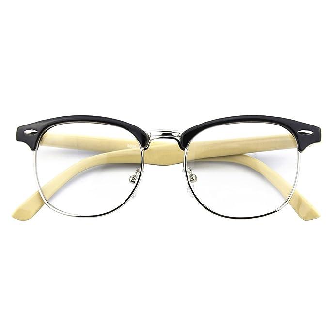 da1cbfabc12 CGID CN56 Vintage Inspired Classic Horn Rimmed Nerd UV400 Clear Lens Glasses