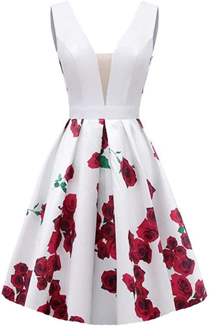 Dydsz Women's Floral Print Evening Dresses for Weddings with Pockets Prom Party Ball Gown