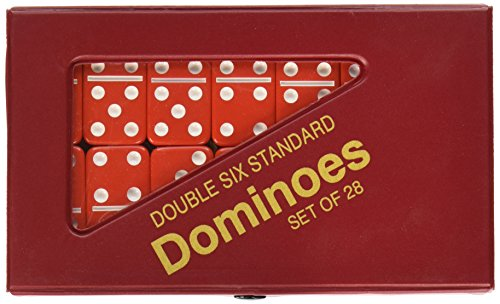 StealStreet SS-CQG-2408L-RD Red and White Double 6 Standard Domino Set with Matching Vinyl Case