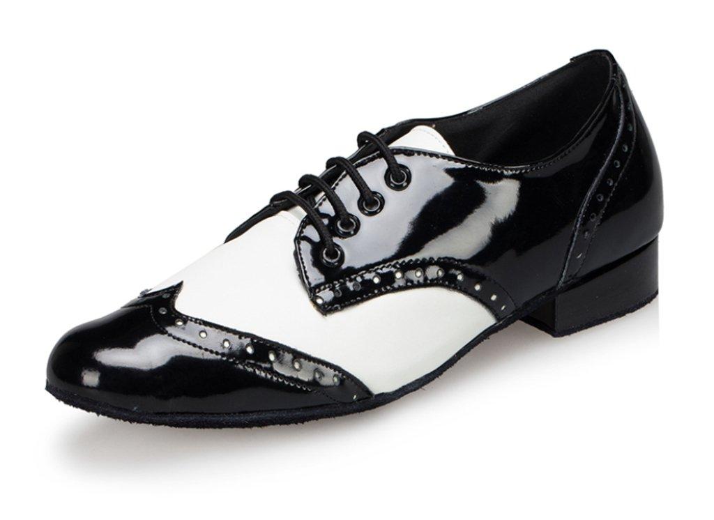CRC Men's Stylish Round Toe Lace up Black/White Color Block Leatherette Salsa Tango Ballroom Morden Latin Jazz Rumba Professional Dance Shoes 11.5 M US