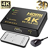 TenTenCo Intelligent 3-Port HDMI Switch, Supports 4K, Full HD1080p, 3D with IR Remote (Black-3Port)