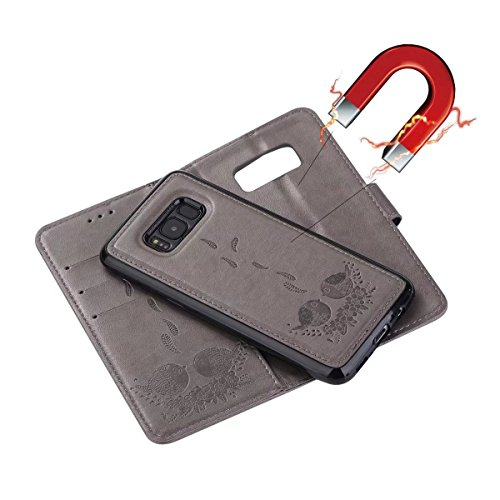 Abnehmbare Rückseiten-Abdeckung Entwurf PU-lederner Fall prägeartiger Vogel-Muster-schützender Mappen-Kasten für Samsung-Galaxie S8 Plus ( Color : Rosegold ) Gray