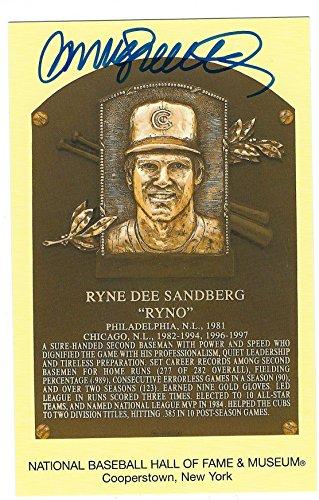 (Autographed Ryne Sandberg Hall of Fame Gold Plaque )