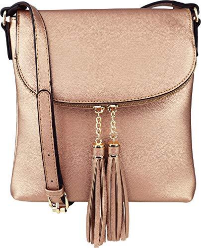 B BRENTANO Vegan Medium Flap-Over Crossbody Handbag with Tassel Accents (Rose-Gold)