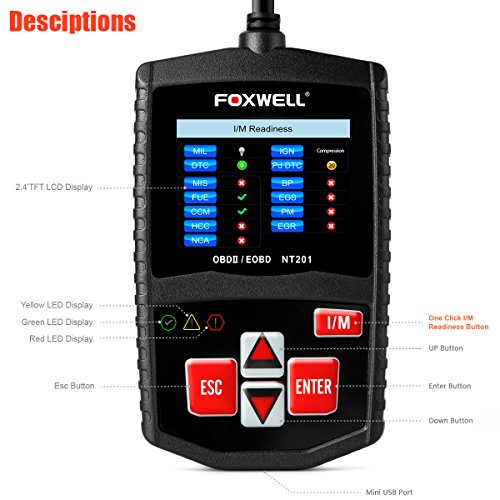 FOXWELL DIY OBD2 OBD II Scanner Automotive Diagnostics Codes Scan Tools Check Car Engine Light Fault Code Readers Auto Diagnostic Tester for OBDII Vehicles (NT201 Black) by FOXWELL (Image #1)