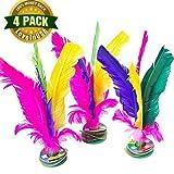 LoveInUSA Colorful Feather Kick Shuttlecock Foot Exercise Chinese Jianzi 4 Pcs