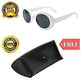 Clout Goggles Glasses White Oval Shaped FREE Case Cobain Sunglasses Sun Glasses
