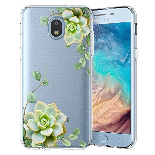Unov Galaxy J7 2018 Case Clear with Design Slim Protective Soft TPU Bumper Embossed Pattern Cover for Samsung Galaxy J7 Crown J7 Refine J7 Star J7 V J7V 2nd Gen ()