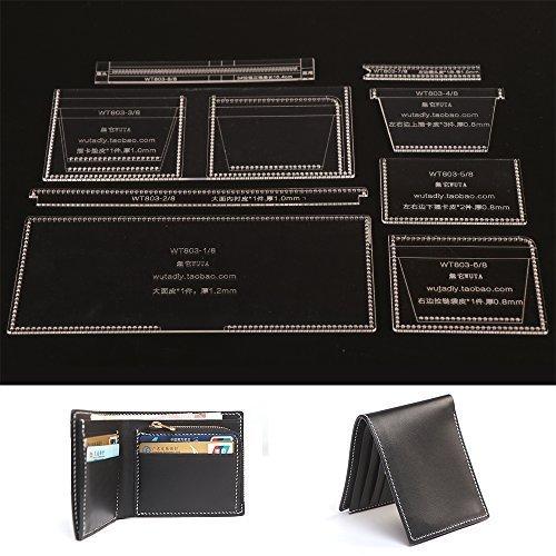 WUTA Unisex Wallet Template Leather Clear Acrylic Pattern Set Model for Making Short Wallet Zipper Purse Leathercraft Tools - Pattern Zipper Purse
