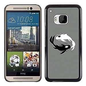 A-type Arte & diseño plástico duro Fundas Cover Cubre Hard Case Cover para HTC One M9 (Negro y blanco Koi Fish)
