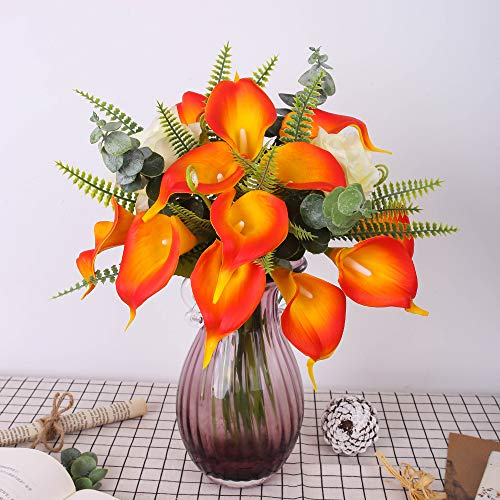 YUYAO Calla Lily Artificial Flowers Bridal Wedding Bouquets Latex Real Touch Lillies Flower Arrangements for Home Party(Sunset, 2)