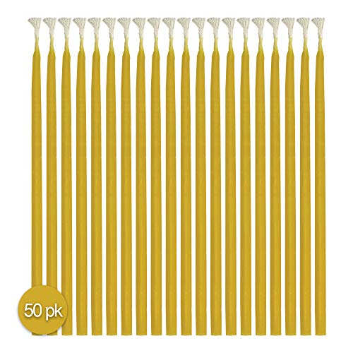 "Hyoola Beeswax Birthday Candles - 50 Pack - Natural Dripless Decorative Candles with Long Lasting Burn - Elegant Taper Design, Soothing Scent - 6"" Tall - Handmade in The USA"