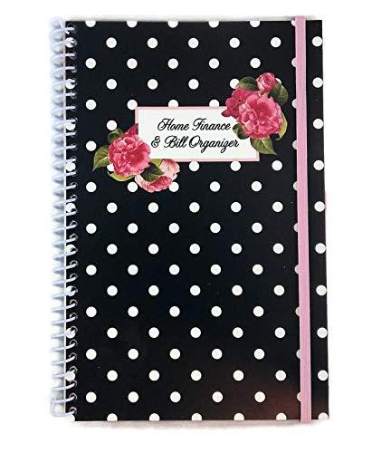 Home Finance & Bill Organizer with Pockets (Black with Flowers & Dots) (Bill Pocket Organizer)