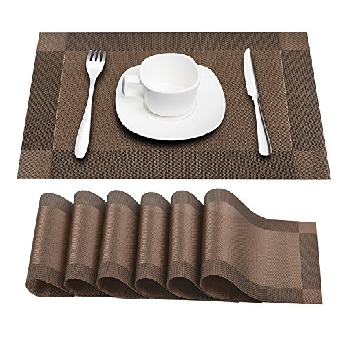 Prunend Heat-resistant Placemats Stain Resistant Anti-skid Washable PVC Table Mats Woven Vinyl Placemats, Set of 6 (brown)