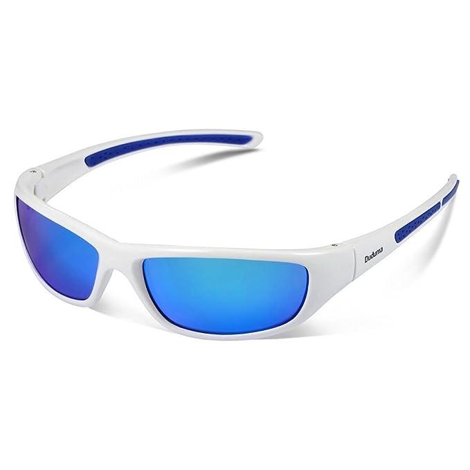 Duduma Sport Occhiali da Sole Polarizzati per lo Sci Golf Corsa Ciclismo TR62 Super Leggero per Gli Uomini e le Donne (Telaio nero blu con lente blu) v2Rv9G