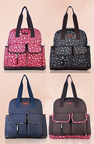 Fumee multifunción bolsa de pañales bolso grande momia mochila de nylon impermeable bolso + bolsa de aislamiento botella + Stoller correas + cambiador + mojado/seco bolsa de tela negro negro marrón
