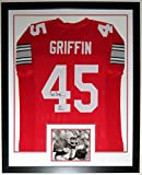 Archie Griffin Signed L Buckeyes Jersey & '74 + 75' Heisman Trophy Inscription - JSA COA Authenticated- Custom Framed & 8x10 Photo 34x42