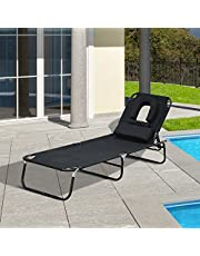 Outsunny Adjustable Garden Sun Lounger w/Reading Hole Outdoor Reclining Seat Folding Camping Beach Lounging Bed Blue