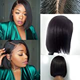 Aopus Hair Lace Front Full Lace Wigs For Black Women Brazilian Virgin Human Hair Short Bob Wigs Bleached Knots Straight Glueless Lace Wig (12inch, 150%density Lace Front Wig)