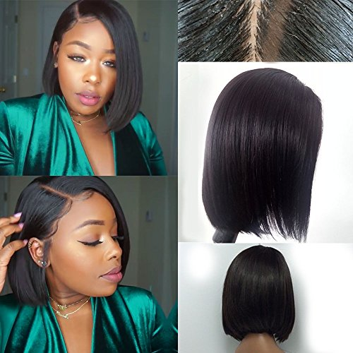 Lace Front Full Lace Wigs For Black Women Brazilian Virgin Human Hair Short Bob Wigs Bleached Knots Straight Glueless Lace Wig (10 Inch, Lace Front - Human Short Hair Bob
