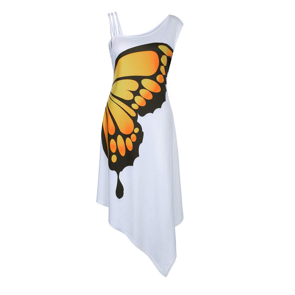 Sharemen Women Casual Butterfly Print Sleeveless Loose Irregularity Dress Mini Dress